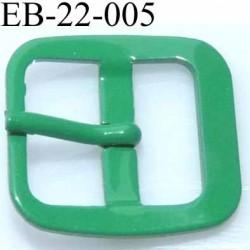 Boucle rectangle métal avec ardillon  couleur vert largeur 22 mm passage de la languette est de 14.5 mm