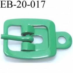 Boucle rectangle métal  couleur vert largeur 20 mm passage de la languette est de 12.5 mm accroche du rivet diamètre 3 mm