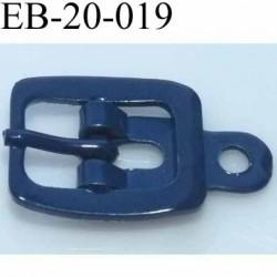 Boucle rectangle métal  couleur bleu largeur 20 mm passage de la languette est de 12.5 mm accroche du rivet diamètre 3 mm