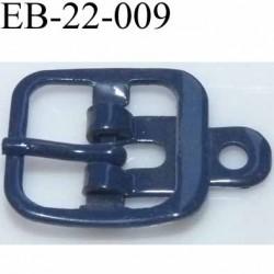 Boucle rectangle métal  couleur bleu largeur 22 mm passage de la languette est de 14.5 mm accroche du rivet diamètre 3 mm