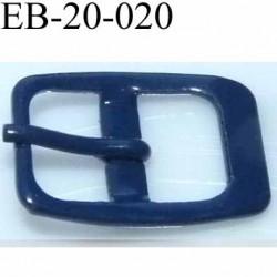 Boucle rectangle métal avec ardillon couleur bleu largeur 20 mm passage de la languette est de 12.5 mm