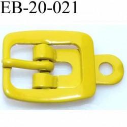 Boucle rectangle métal  couleur jaune largeur 20 mm passage de la languette est de 12.5 mm accroche du rivet diamètre 3 mm