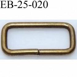 Boucle étrier rectangle en métal couleur laiton  largeur extérieur 2.5 cm largeur intérieur 2.1 cm hauteur 1.2 cm épaisseur 2 mm