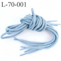 Lacet rond coton polyester longueur 70 cm couleur bleu  diamètre 5 mm prix pour une paire