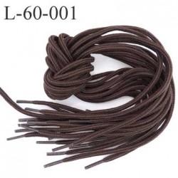 Lacet rond coton polyester longueur 60 cm couleur marron  diamètre 4 mm prix pour une paire