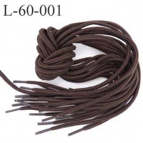 Lacet rond coton polyester longueur 60 cm couleur marron  diamètre 5 mm prix pour une paire