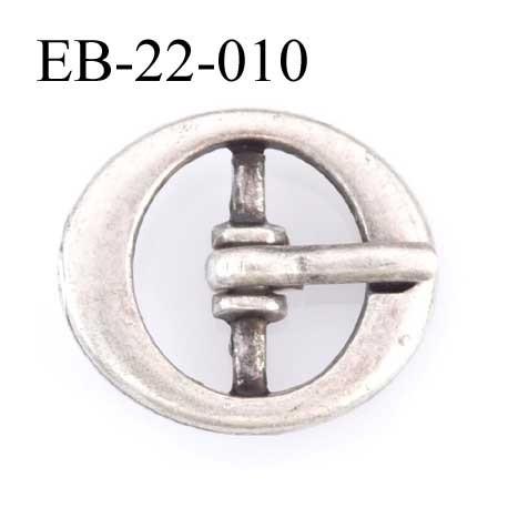 Boucle Ovale métal couleur étain style ancien très belle  largeur 22 mm hauteur 16 mm passage de la languette est de 11.5 mm