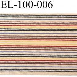 élastique plat très belle qualité couleur du  fond beige et bleu vert argent jaune rouge marron largeur 100 mm  semi rigide
