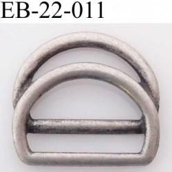 double Boucle étrier demi rond métal  style étain ancien noirci largeur extérieur 2.2 cm intérieur 1.6 cm iédal sangle 1.5 cm