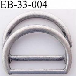 double Boucle étrier demi rond métal  style étain ancien noirci largeur extérieur 3.3 cm intérieur 2.6 cm iédal sangle 2.5 cm