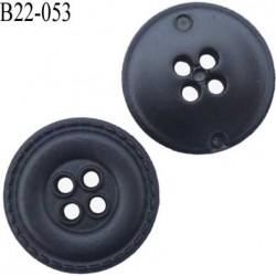 bouton 22 mm en pvc couleur noir façon cuir 4 trous diamètre 22 mm prix a la pièce