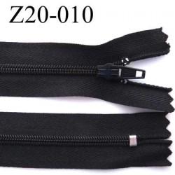 fermeture zip à glissière longueur 20 cm couleur noir non séparable largeur 2.5 cm glissière nylon largeur 4.2 mm