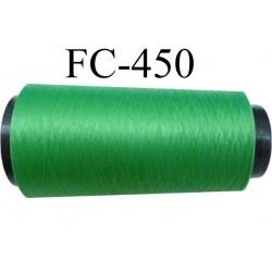 Cone de fil mousse polyamide fil n° 160 couleur vert lumineux  longueur du cone 5000 mètres bobiné en France