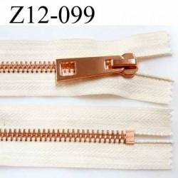 fermeture zip à glissière longueur 12 cm couleur écru non séparable zip métal  largeur 3,8 cm largeur du zip 8 mm