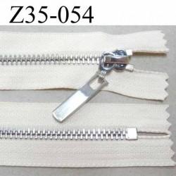 fermeture zip à glissière en métal  longueur 35 cm couleur écru non séparable  largeur 3.2 cm zip glissière largeur 6.5 mm