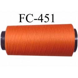 CONE de fil mousse polyamide fil n° 120 couleur orange  longueur de 5000 mètres bobiné en France