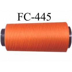 Cone de fil mousse texturé polyester fil n°110 couleur orange foncé lumineux longueur du cone 2000 mètres bobiné en France