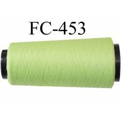 Cone de fil mousse texuré polyester fil n°100 couleur vert pistache longueur 1000 mètres bobiné en France