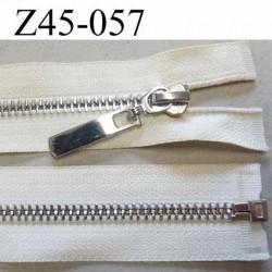 Fermeture zip glissière en métal  brillant couleur écru largeur 3 cm largeur glissière 6 mm curseur métal très belle