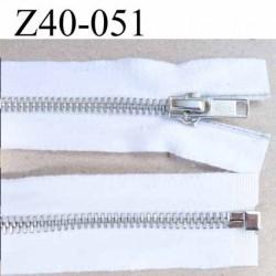 fermeture zip coton blanc largeur 3.5 cm à glissière métal  longueur 40 cm couleur blanc  séparable glissière métal 6 mm alu