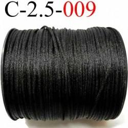 cordon queue de rat en satin  brillant couleur noir diamètre 2.5 mm très solide prix du mètre