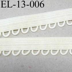 élastique picot boucle plat largeur 13 mm couleur  ivoire écru  largeur de bande 9 mm largeur de boucle 4 mm