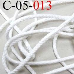 Cordon 100 %  en coton couleur blanc doux souple et très solide diamètre 4.5 mm prix au mètre
