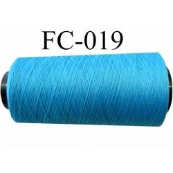 Cone de fil mousse polyamide fil n° 120 couleur bleu turquoise longueur du cone 2000 mètres bobiné en France