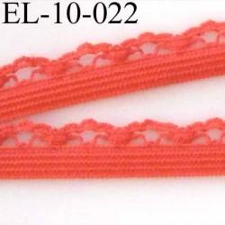 élastique picot dentelle plat largeur 10 mm couleur rose corail
