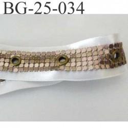 ruban  galon  couleur blanc et laiton clair largeur 25 mm  ruban satin et strass en métal brillant  avec rivets superbe