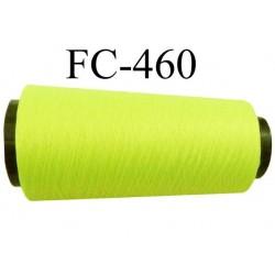 Cone de fil mousse polyamide fil n° 110 / 2 couleur jaune fluo cone de 2000 mètres bobiné en France