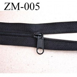 fermeture zip à glissière  au mètre couleur noir 1 curseur pour 1 mètre largeur 25 mm largeur de glissière 4 mm curseur métal