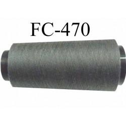 CONE de fil polyester fil n° 180 couleur gris anthracite  longueur de 5000 mètres bobiné en France