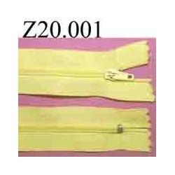 fermeture zip à glissière longueur 20 cm couleur jaune non séparable zip nylon largeur 2.5 cm
