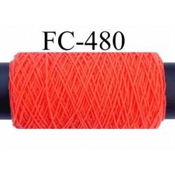 bobine de fil élastique fronceur ou à smock gomme lycra polyamide orange longueur de la bobine 100 mètres diamètre 0.05 mm