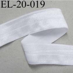élastique blanc brillant plat fin souple largeur 20 mm, utilisé pour , tissus en lycra ou extensibles , polyester  prix au mètre