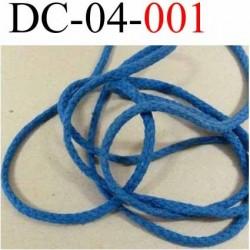 Déstockage cordon 100 % coton  souple  couleur bleu diamètre 4 mm prix au mètre