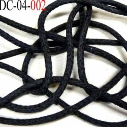 Déstockage cordon 100 % coton  souple  couleur noir très très solide avec lien intérieur diamètre 4 mm prix au mètre