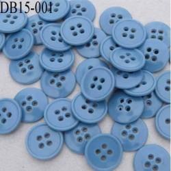 Déstockage bouton 15 mm couleur bleu brillant  4 trous diamètre 15 millimètres
