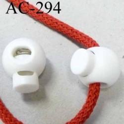 arrêt cordon  stop cordon 18 mm rond blanc passage du cordon 5 mm en hauteur et 7 mm en largeur diamètre 18 mmprix à l'unité