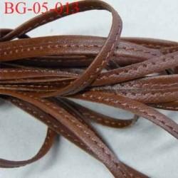galon ruban à plat  façon cuir ou simili  largeur 4.5 mm couleur marron avec lien intérieur coton très solide prix au mètre