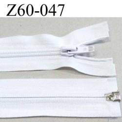 fermeture zip  glissière séparable  largeur 3 cm   longueur 60 cm couleur blanc  glissière nylon largeur  6 mm curseur métal
