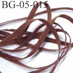 galon ruban lacette à plat  façon cuir ou daim  agréable au touché et souple largeur 5 mm couleur marron  prix au mètre
