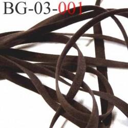galon ruban lacette à plat  façon cuir ou daim  agréable au touché souple largeur 3 mm couleur marron très foncé prix au mètre