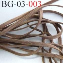 galon ruban lacette à plat  façon cuir ou daim  agréable au touché et souple largeur 3.5 mm couleur marron clair prix au mètre