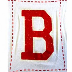 pièce rectangle  de tissus avec la lettre B très jolie logo en sur épaisseur couleur rouge et blanc avec strass brillants