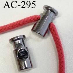 arrêt cordon stop cordon rond  en métal  à ressort couleur acier chromé de taille 20 mm x 10 mm  prix à l'unité