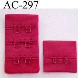 attache rallonge extension de soutien gorge 2 crochets largeur 30 mm couleur framboise