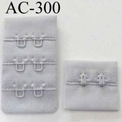attache rallonge extension de soutien gorge 2 crochets largeur 30 mm couleur gris clair