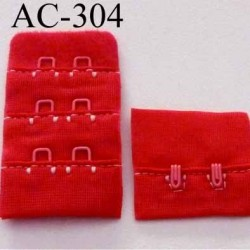 attache rallonge extension de soutien gorge 2 crochets largeur 30 mm couleur rouge clemence